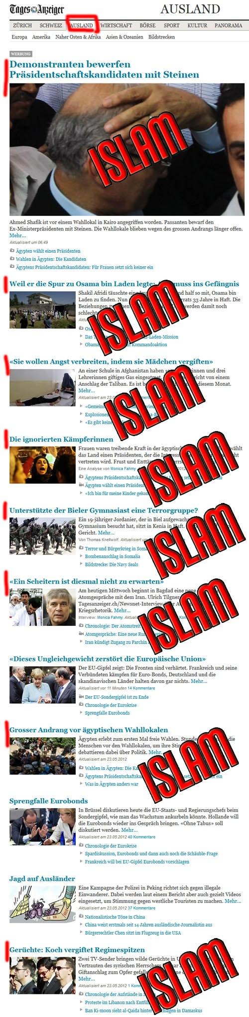 Tagesanzeiger, Bereich Ausland, vom 24.05.2012