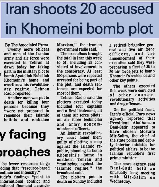 Zeitungsartikel über die Exekution von iranischen Offizieren, welche versuchten Khomeini zu töten